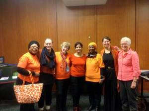 """""""Orange"""" participants on Nov. 26th -  from L to R: Roxana Obasi, Emily Rempel, Mary Scott, Meenu Kapoor, Gertrude Hambira, Marilou McPhedran, Nancy Cosway"""
